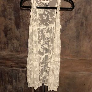Girls Ivory Lace Duster